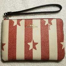 Coach Women's Canvas Stripe Star Print Corner Zip Wristlet in Chalk/red - Nwt Photo