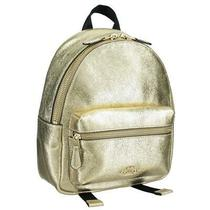 Coach Women's Charlie Metallic Leather Backpack White Gold Bag F35238-Imo6v Photo