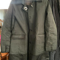 Coach Womens Classic Mid Length Trench Coat Lined Satin Stripe/ Black /size 8 Photo