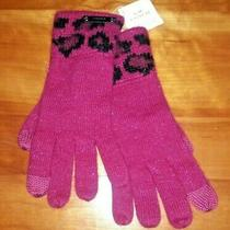 Coach Women's Cranberry Pink & Black Ocelot Touch One Screen Gloves New Nwt  Photo