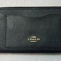 Coach Women's Crossgrain Leather Accordion Zip Wallet in Navy Blue/gold - Nwt Photo
