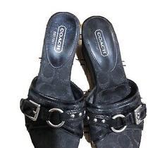 Coach Women's Faye Black Signature Wedge Heels Shoes Buckle Peep Toe. Sz 8 M  Photo