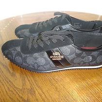 Coach Women's Flat Shoesblack Signature City Sneakersgold Tone Logosize 8.5 Photo