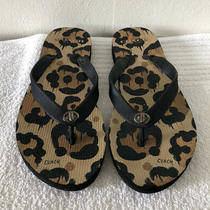 Coach Womens Flip Flops Black Multicolor Sz 5/6 Photo