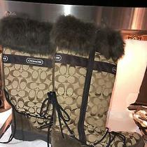 Coach Women's Fur Trim Laurilyn Winter Boots Size 9.5 Photo