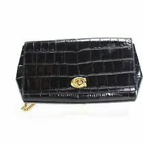 Coach Women's Handbag Black Gold Embossed Crossbody Turnlock Leather 350- 214 Photo