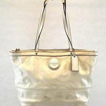 Coach Women's Handbag Cream Patent Leather Purse Tote Shoulder Bag Large F15142 Photo