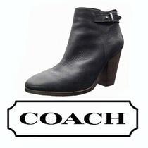 Coach Women's Hewes Safari Black Leather Block Heeled Modern Booties Size 10 Photo