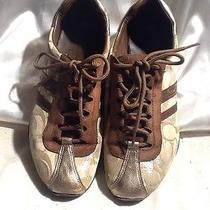 Coach Women's Lace Front Sneakers Gold and Brown Sz 7.5 Photo