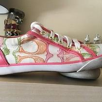 Coach Women's Lace Up Sneakers White-Multi Color Sz 6.5 by Coach Pink Green Oran Photo