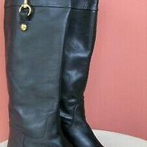 Coach Womens Martta Soft Black Leather Knee High Riding Boots - Size 7 B Xlnt Photo
