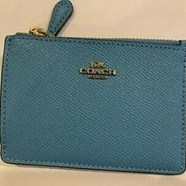 Coach Women's Mini Skinny Id Case/ Wallet Key Chain Leather Pacific Blue Photo