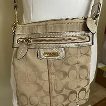 Coach Women's Monogram Crossbody Shoulder Bag Purse Beige With Silver Leather Photo