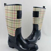 Coach Women's Navy Rubber Beige Multi Color Plaid Canvas Rain Boot Shoe Size 8 Photo