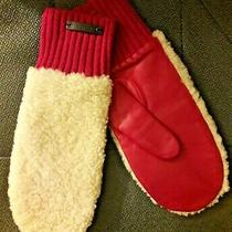 Coach Women's Pink Mitten Gloves New Nwt Sheep Leather Shearling Wool Photo