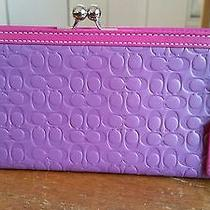 Coach Women's Purple and Pink Leather Wristlet Photo