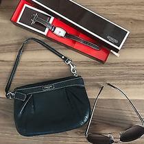 Coach Women's Set Sunglasses Black- Watch Brown- Wristlet Leather Black Combo Photo