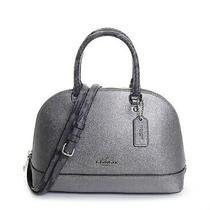 Coach Women's Sierra Metallic Exotic Leather Satchel Gunmetal Bag F38057-Sv/gm Photo