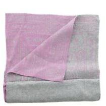 Coach Women's Signature Soft Knit Lozenge Muffler Scarf Wrap Grey Pink Photo