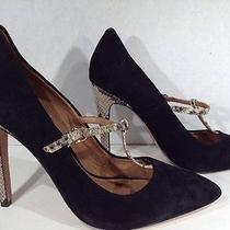Coach Women's Size 9 Black Suede Snakeskin Heels Mary Jane Shoes X1-1681 Photo