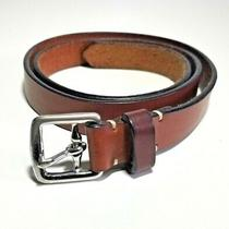 Coach Women's Skinny Brown Leather Belt 8566 Silver Buckle Size M Made in Italy Photo
