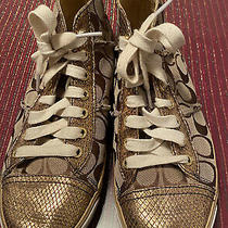 Coach Women's Sneakers Shoes Size 8 Canvas/gold Khaki Pre-Owned Photo