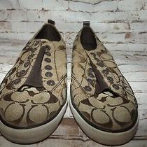 Coach Women's Sneakers Shoes Sz 9b Brown Tan Canvas Eyelets No Laces Gently Used Photo