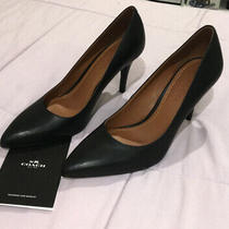 Coach Women's Solid Black Leather Pointed Toe Pumps 3.5 Heels Shoes Sz 9.5b Photo
