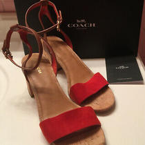 Coach Womens Thompson Carmine Red Suede Strappy Sandals Cork Block Heels 10 B Photo