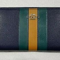 Coach Women's Varsity Stripe Pebbled Leather Accordion Zip Wallet in Cadet Multi Photo