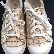 Coach Women Shoes  Barrett  Sneakers Gold Signature Size 8.5b     Photo