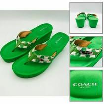 Coach Women Signature Wedge Platform Thong Sandals Shoe Green Size 10b Photo