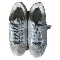 Coach Women Sneakers Jacquard Silver Gray Logo Walking Shoes Size 7.5 Signature Photo