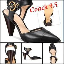 Coach Women Wren Black Leather Slingback Pumps Heels Size 9.5 Shoes Bnib Photo