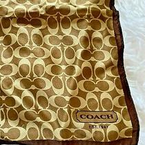 Coach Womens 100% Silk Scarf Brown Coach Logo Pattern 21x 21 Authentic Photo