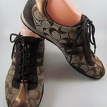 Coach Womens 11 M Katelyn Brown Signed Fabric Sneakers Lace Athletic Shoes Photo