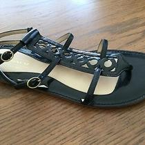 Coach Womens 6b Black Leather Thong Geralynn Strappy Sandal Flats Gladiator Photo