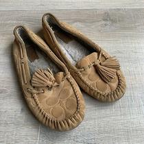 Coach Womens Anita Signature Moccasin Slippers Suede Camel Size 8.5 M Photo