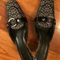 Coach Womens Black/grey Logo Signature Mule Shoes Sz 7 - Excellent Condition Photo