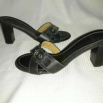 Coach Womens Black Leather Buckle Slides Sandals Heels Shoes 7b Neena Italy  Photo