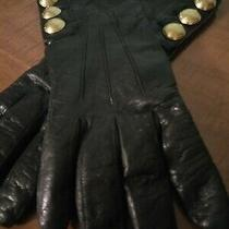 Coach Womens Black Leather Gloves Gold Tone Studs Size 7-1/2 Cashmere Lined Euc Photo