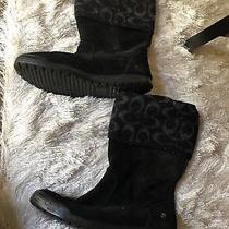 Coach Womens Black Monogrammed Wool Socks Boots Sz 6.5 Photo