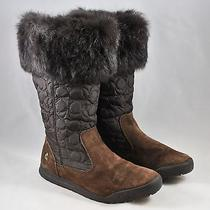 Coach Womens Brown Suede Fur Talen Boots Size 6.5 Photo
