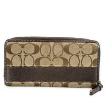 Coach Womens Canvas Leather Clutch Wallet Brown Tan Photo