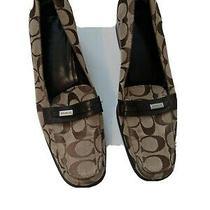 Coach Womens Canvas Slip on High Heels Pumps Brown Size 8 B Photo