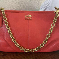 Coach Womens Chain Pink/red Small Zipper Purse Bag Leather Photo