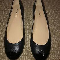 Coach Womens Chelsea Closed Toe Slide Flats Size 9.5 Black/black Matte Calf Photo