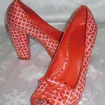 Coach Womens Corey Red & Pink Cc Optic Bow Peep Toe Platform Heels Shoes 7 Photo