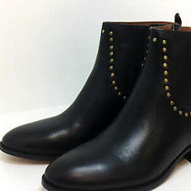 Coach Womens Eva Stacked-Heel Booties Leather Almond Toe Ankle Black Size 6.5 Photo