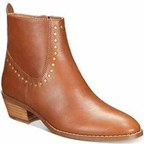 Coach Womens Eva Stacked-Heel Booties Leather Almond Toe Ankle Saddle Size 5.0 Photo